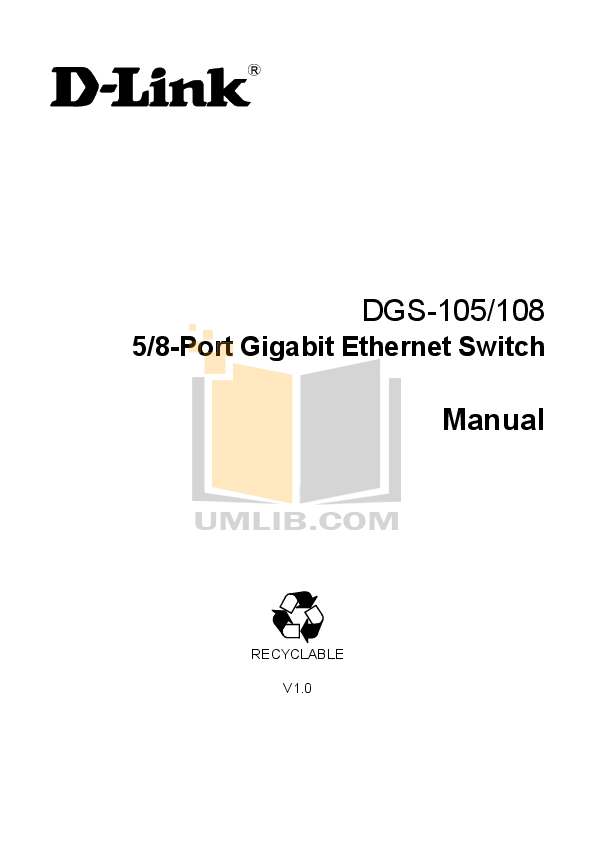 Download free pdf for D-link DGS-108 Switch manual