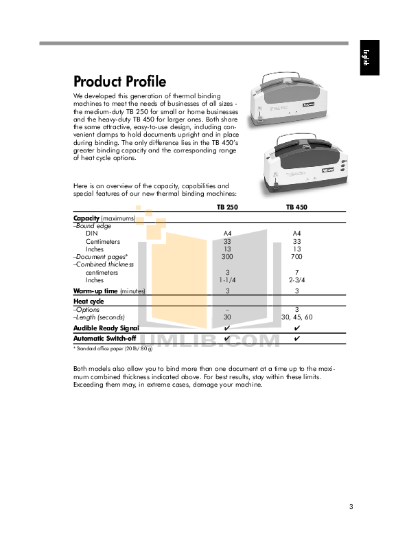 PDF manual for Fellowes Other TB250 Binding Machines