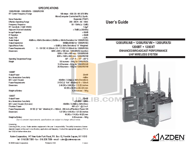 PDF manual for Azden Other 1200XT Transmitters