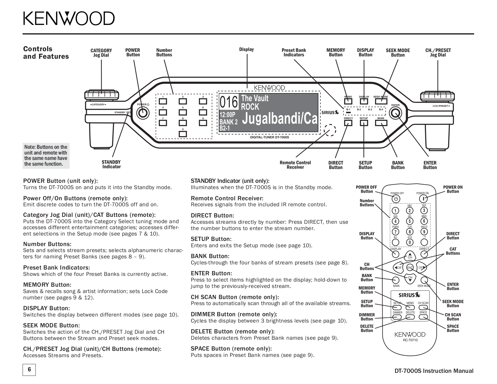 PDF manual for Kenwood Satellite Radio SIRIUS DT-7000S