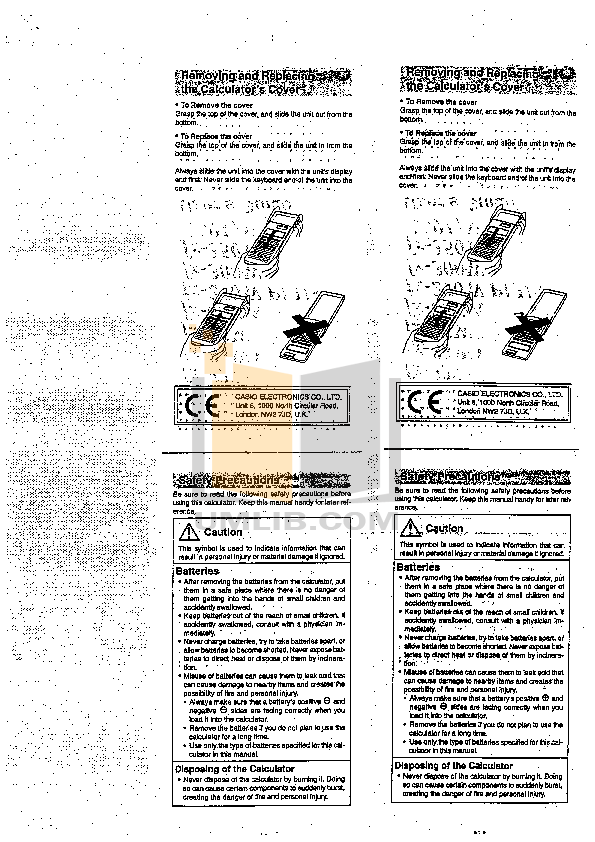 PDF manual for Casio Calculator HR-8TM