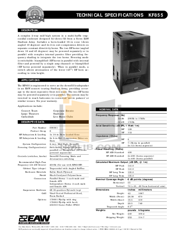 Download free pdf for Eaw KF855 Speaker System manual
