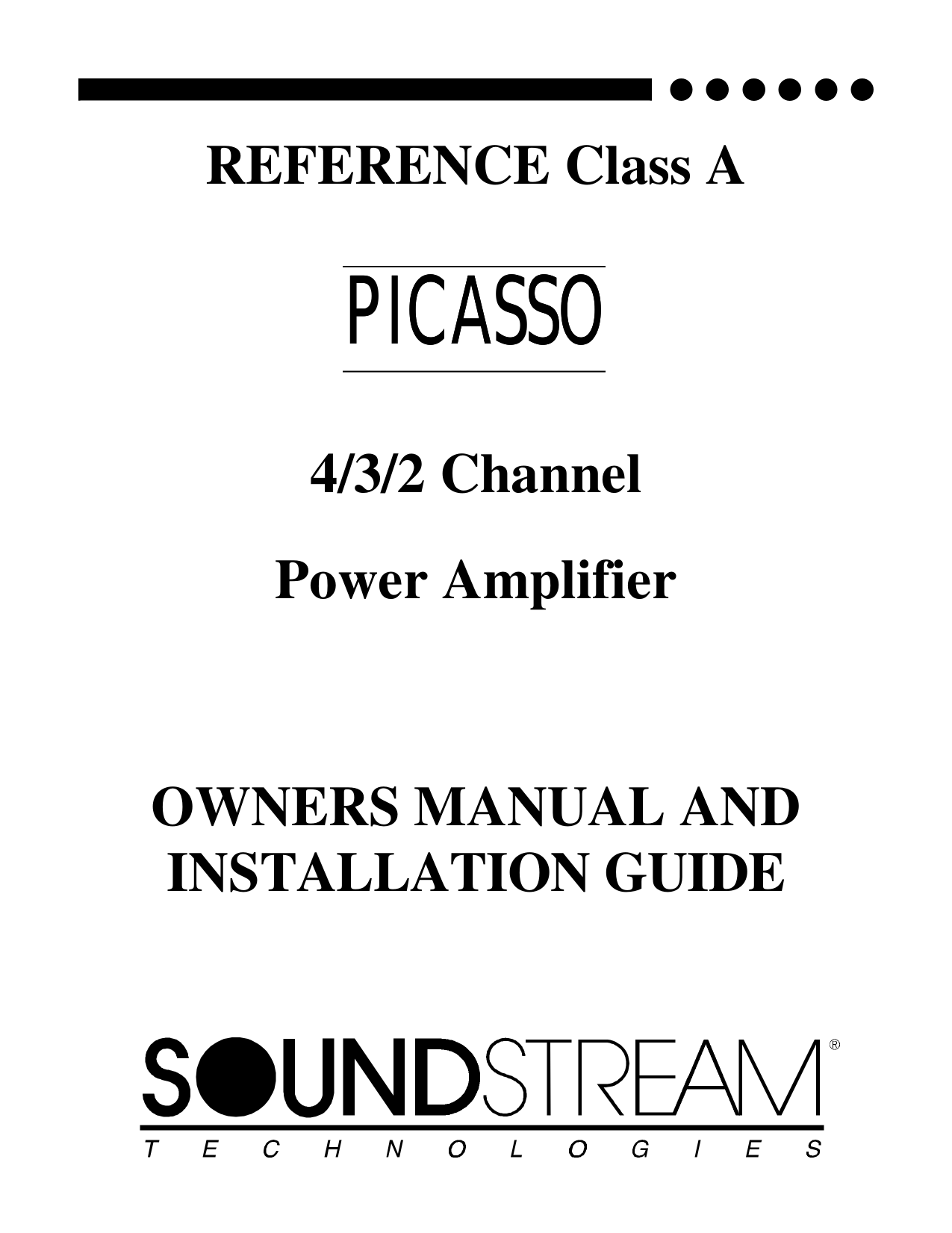 Download free pdf for Soundstream CLASS-A-50 Car Amplifier