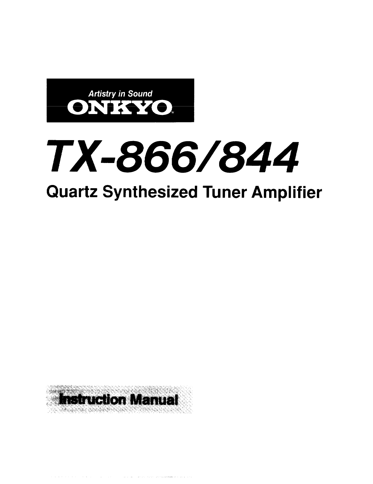 Download free pdf for Onkyo TX-866 Receiver manual