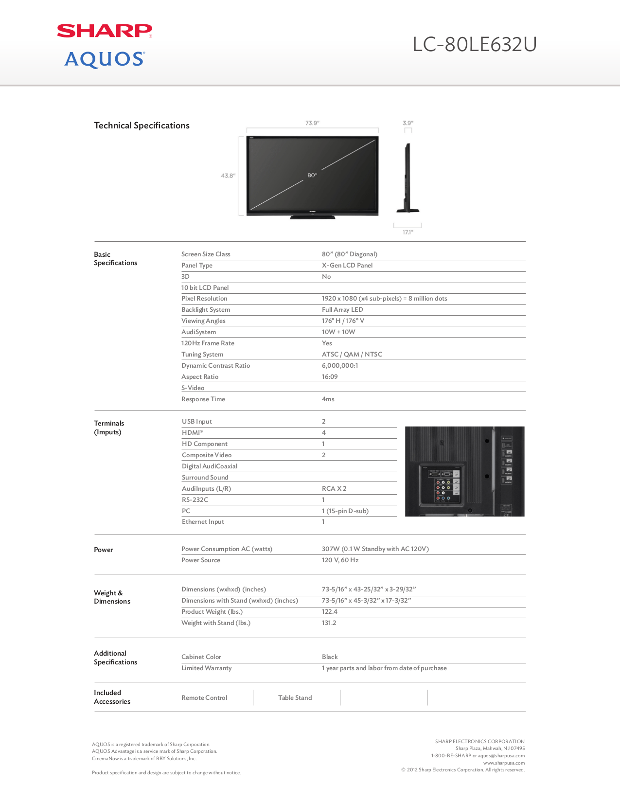 PDF manual for Sharp LCD TV AQUOS LC-80LE632U
