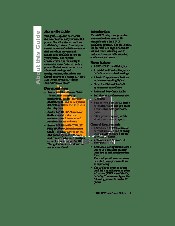 PDF manual for Aastra Telephone Venture IP