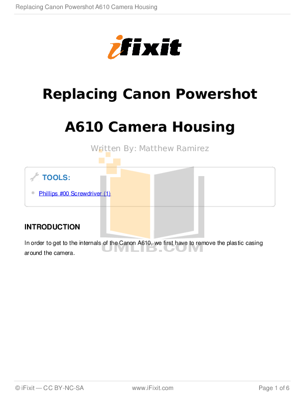 Download free pdf for Canon Powershot A610 Digital Camera