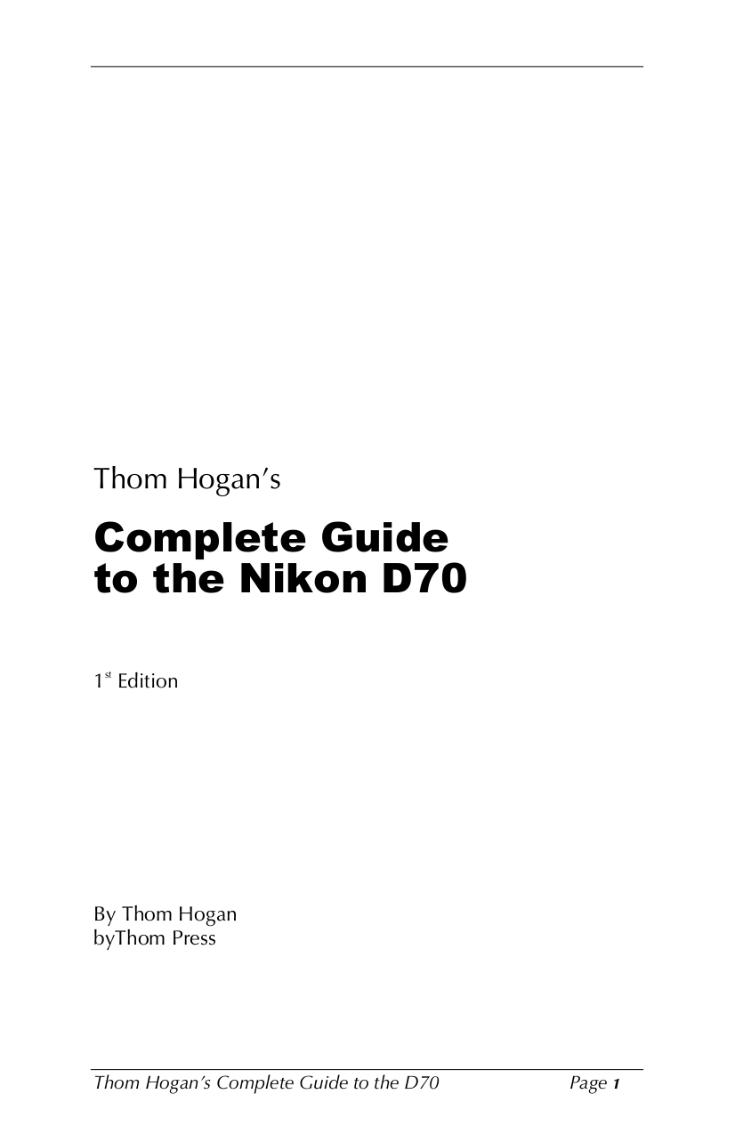 Download free pdf for Nikon D70 Digital Camera manual