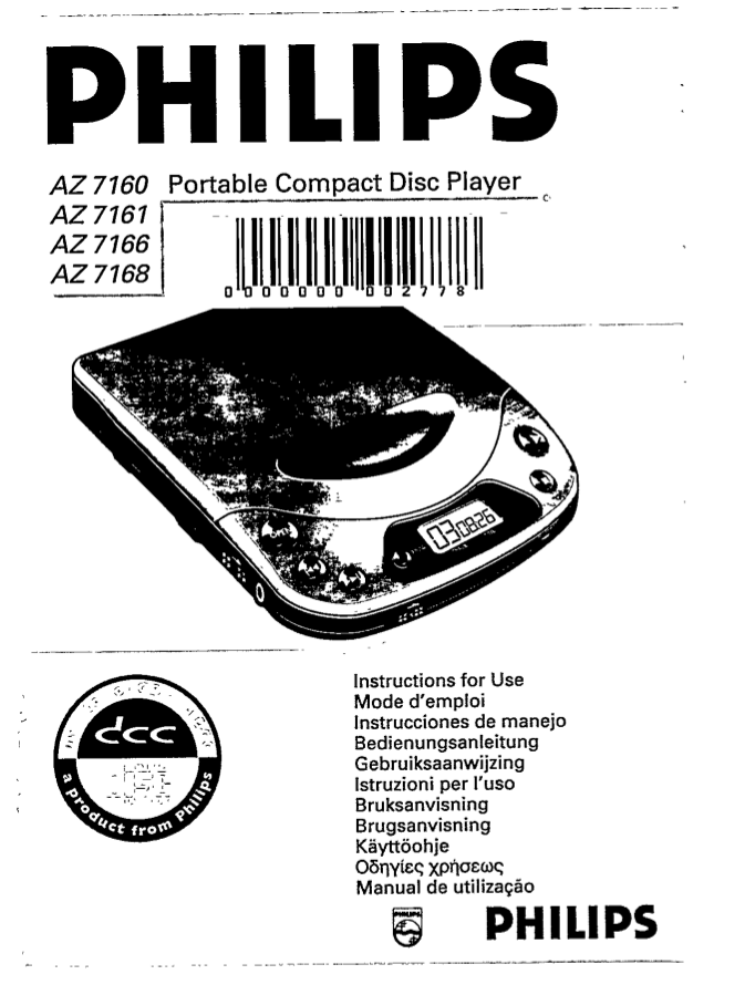 Download free pdf for Philips AZ7160 CD Player manual