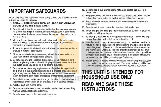 PDF manual for Cuisinart Bread Maker CBK-200