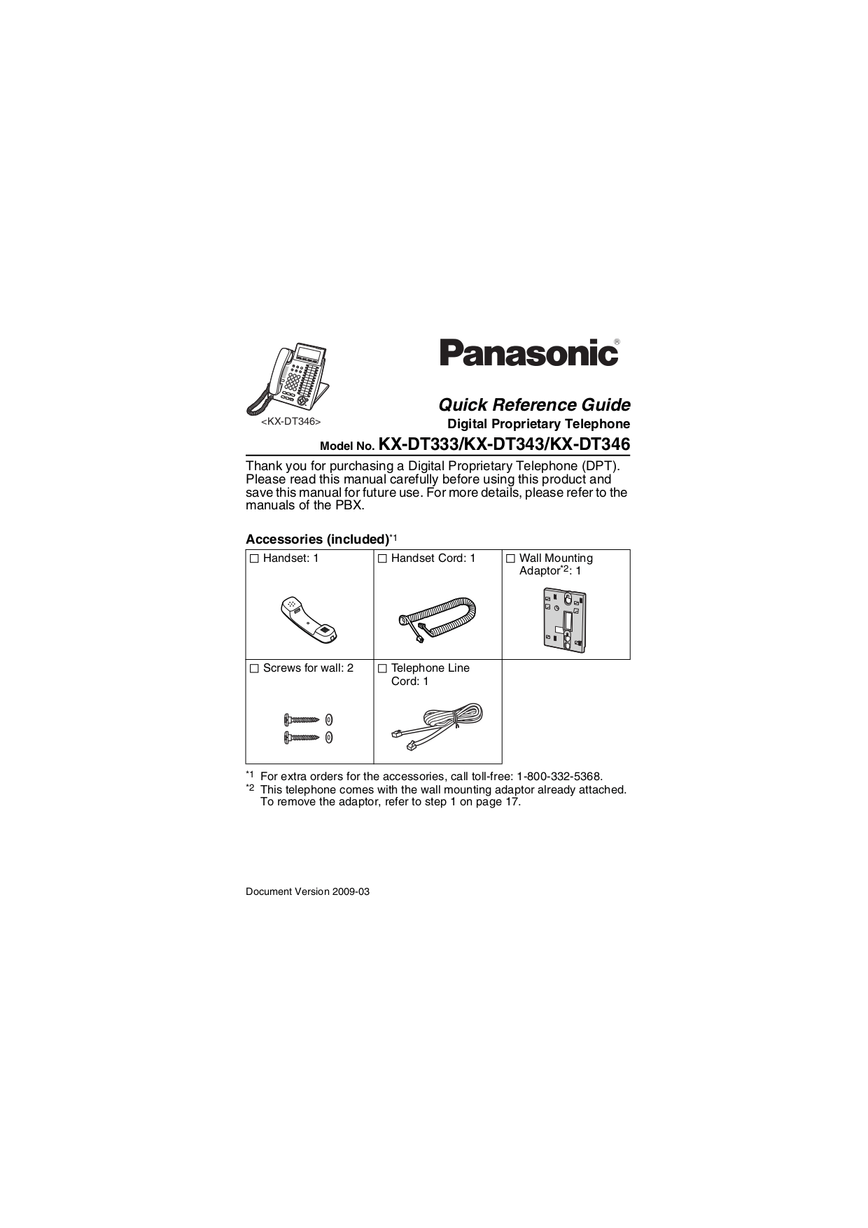 Download free pdf for Panasonic KX-DT346 Telephone manual