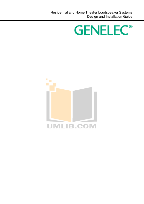 Download free pdf for Genelec HT210 Speaker System manual