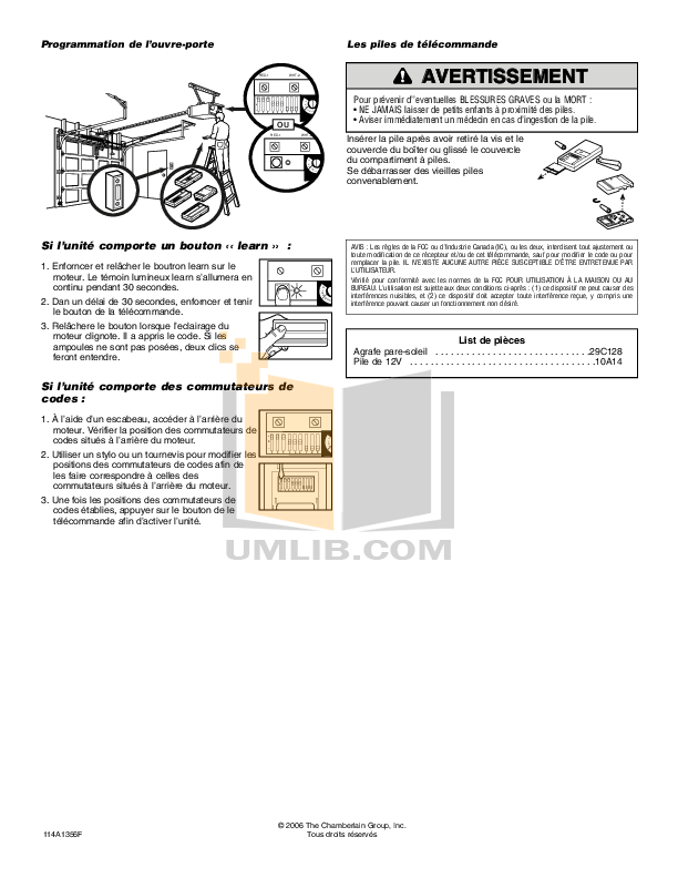 PDF manual for Chamberlain Other 63LMC Remote Controls
