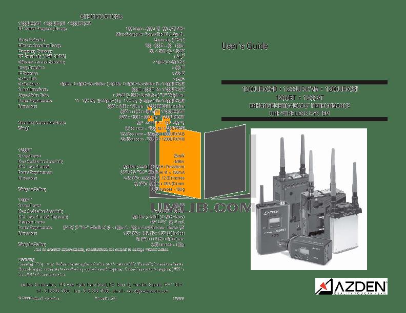 Download free pdf for Azden 1200URX-AB Microphone