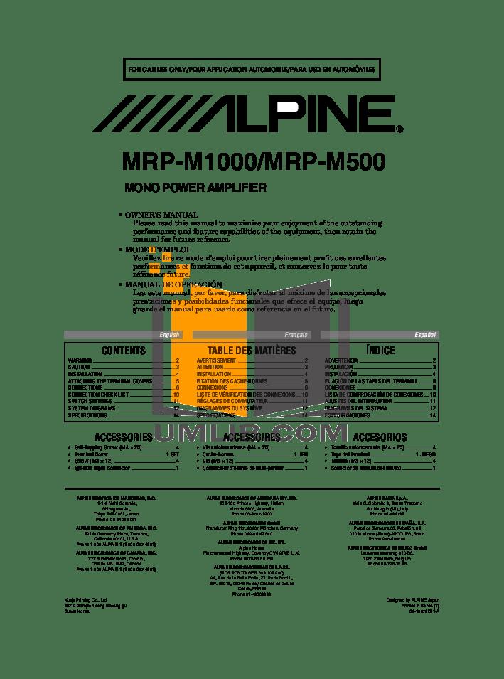 Download free pdf for Alpine MRD-M500 Car Amplifier manual