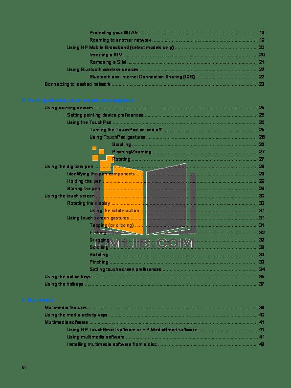 PDF manual for HP Desktop TouchSmart IQ522