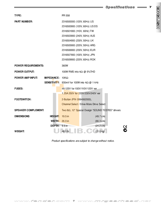 PDF manual for Fender Amp FM212R