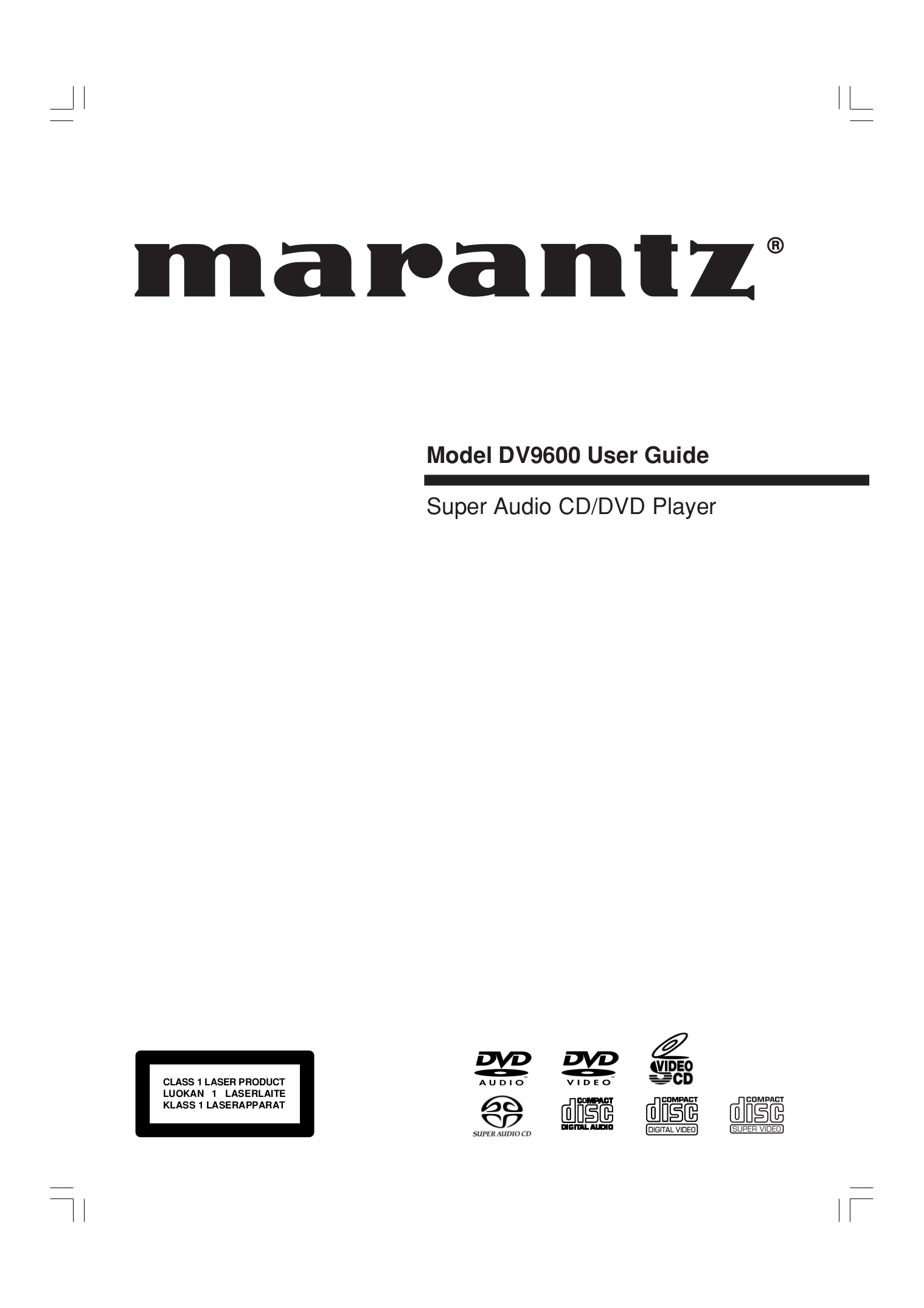 Download free pdf for Marantz DV9600 DVD Players manual