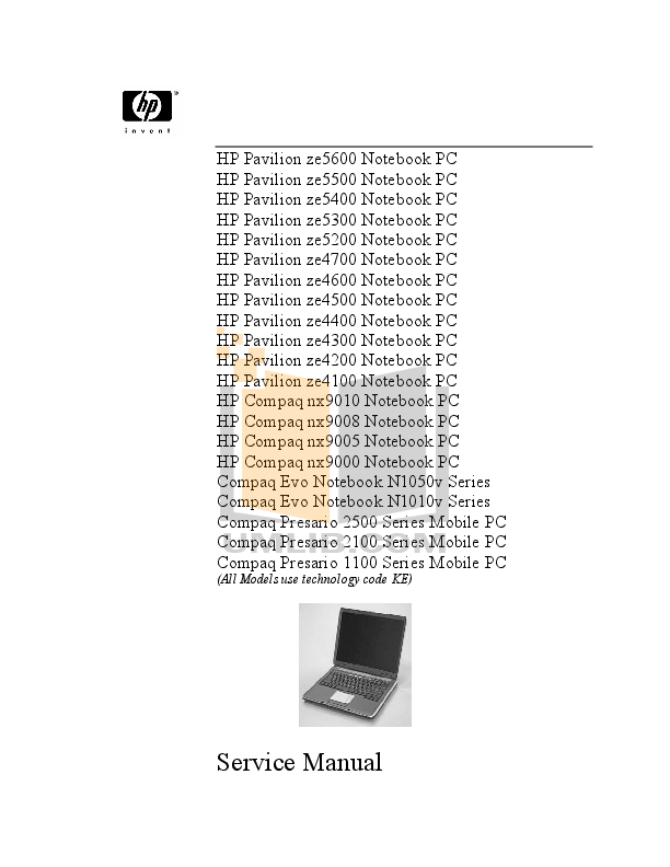 PDF manual for HP Laptop Pavilion ZE2410