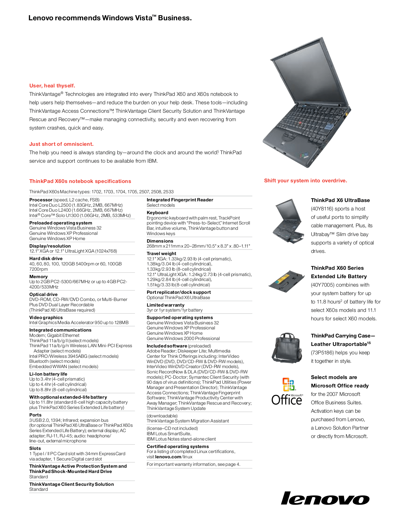 PDF manual for Lenovo Laptop ThinkPad X60 1706