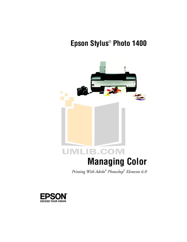 Download free pdf for Epson Stylus Photo 1410 Printer manual