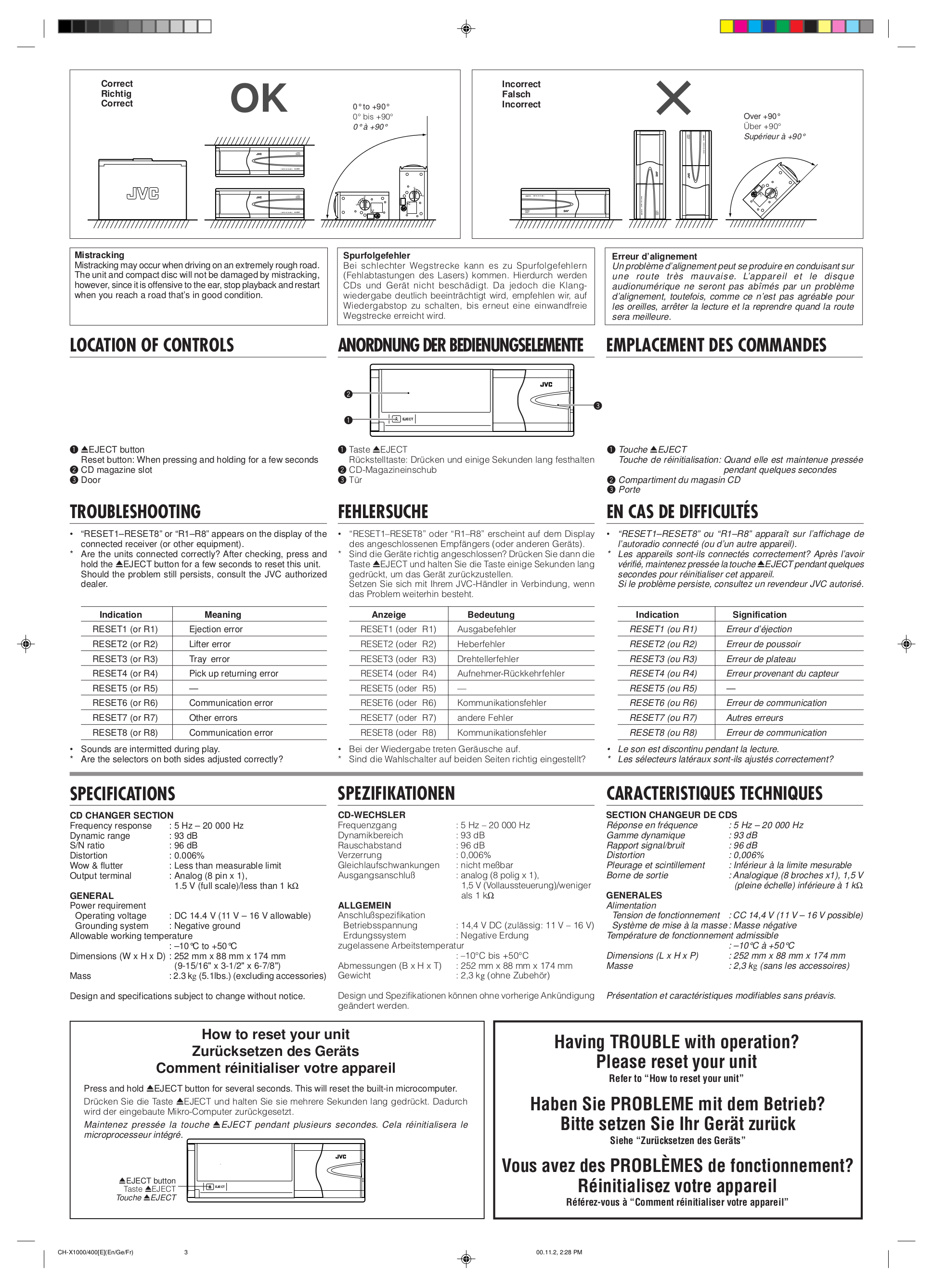 PDF manual for JVC CD Player CH-X400