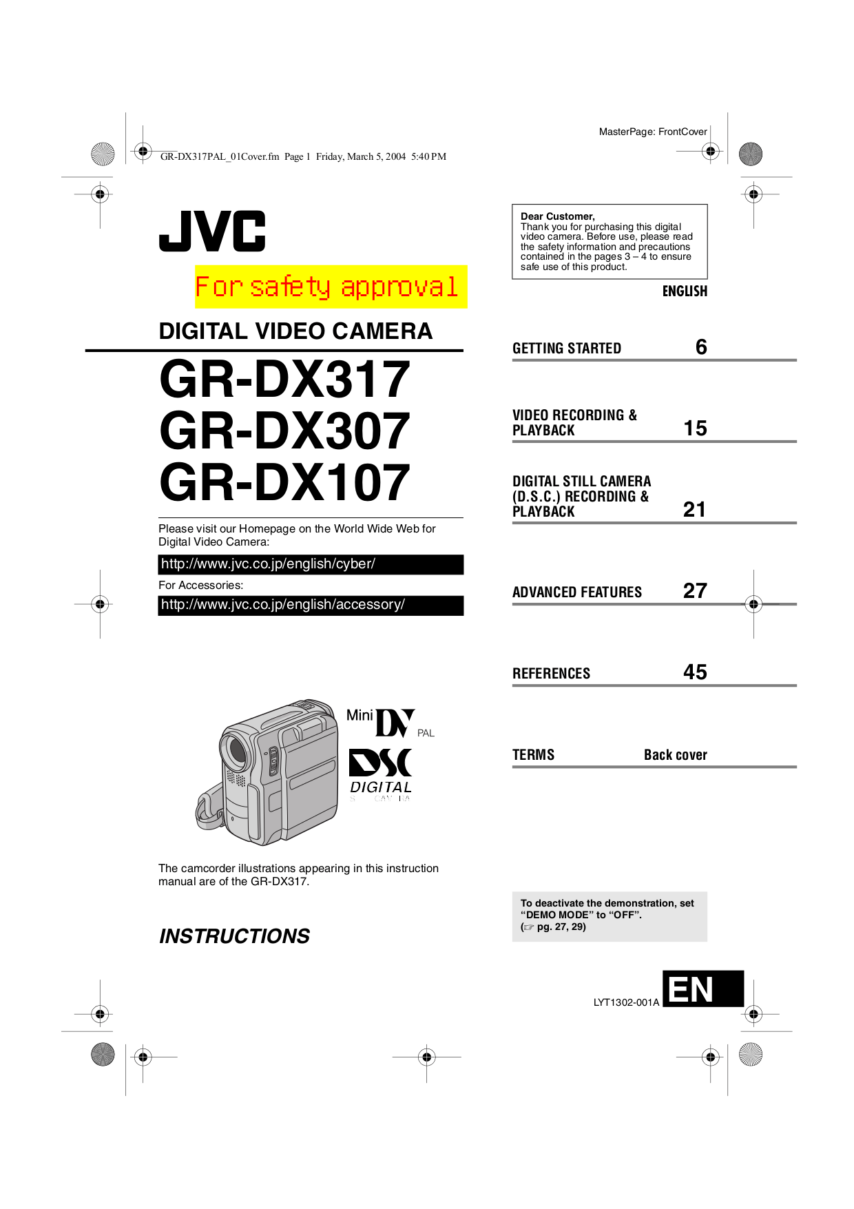 Download free pdf for JVC GR-DX107EK Camcorders manual