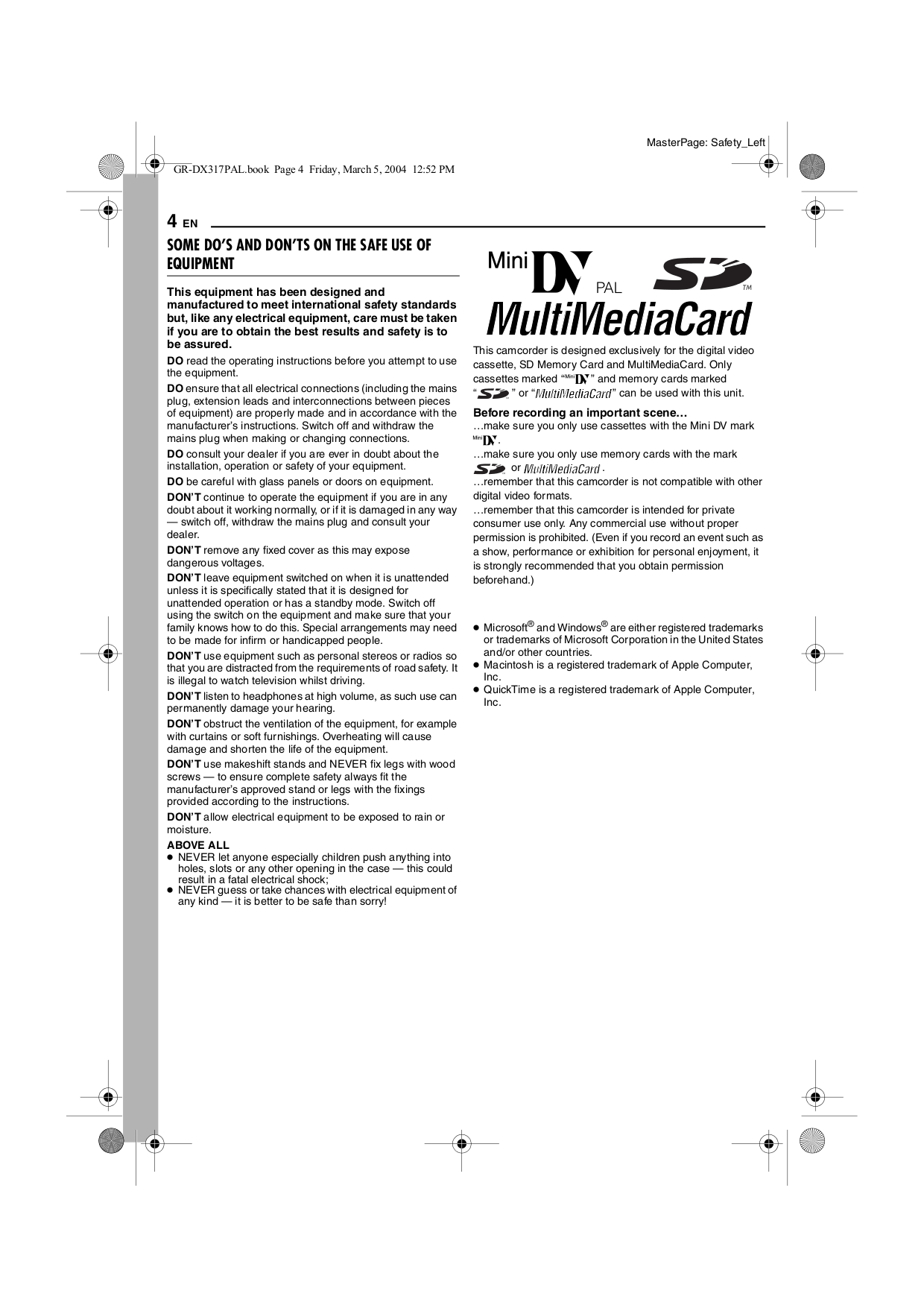 PDF manual for JVC Camcorders GR-DX107EK