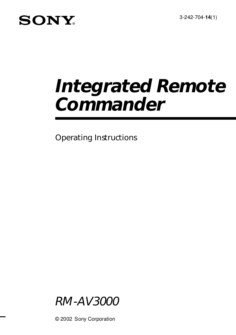 Download free pdf for Sony RM-AV3000 Remote Control manual
