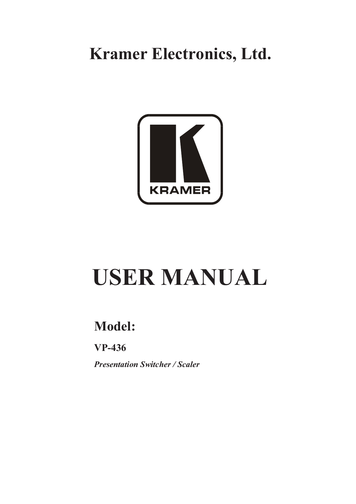 Download free pdf for Kramer VP-413 Digital Scalers Other
