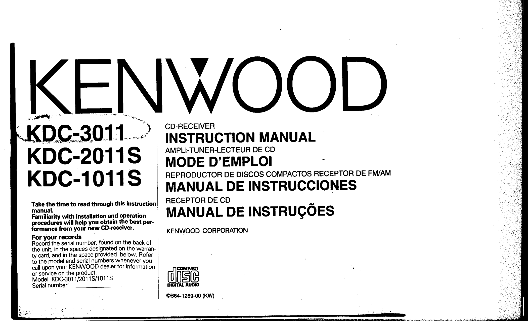 Download free pdf for Kenwood KDC-2011S Car Receiver manual