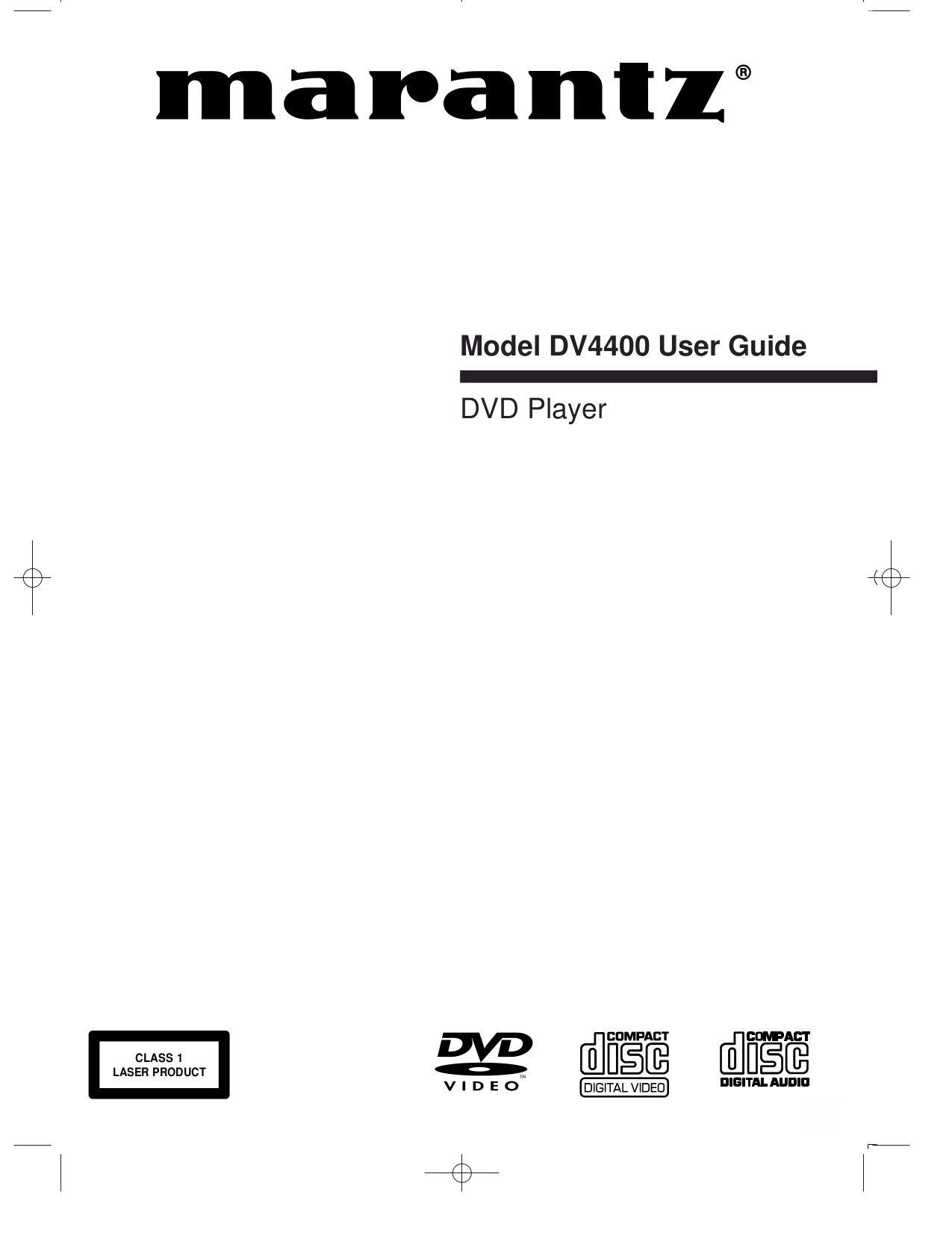 Download free pdf for Marantz DV4400 DVD Players manual