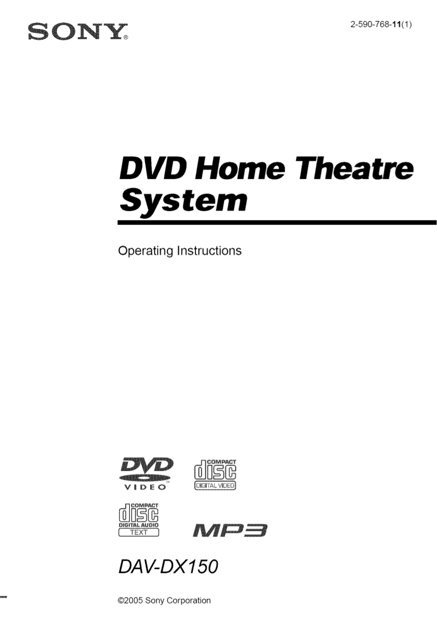 Download free pdf for sony dav-dx150 home theater manual
