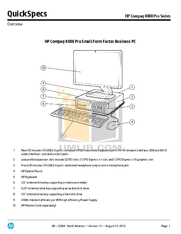 Download free pdf for HP Compaq 4000 Pro SFF Desktop manual