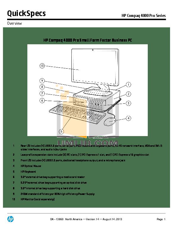 Download free pdf for HP Compaq 4000 Pro SFF Desktop manual