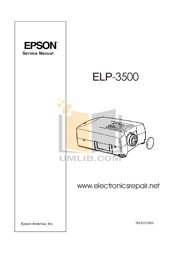 Download free pdf for Epson ELP-3500 Projector manual