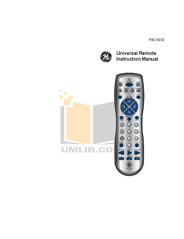 Download free pdf for GE 24930 Remote Control manual
