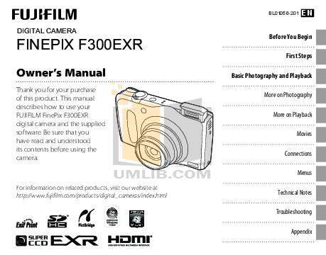 Download free pdf for FujiFilm Finepix F300EXR Digital