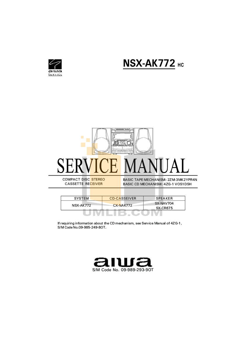 Download free pdf for Aiwa NSX-A10 Stereo Systems Other manual
