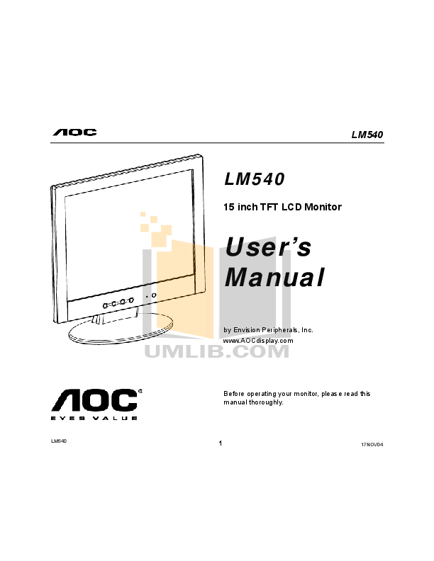 Download free pdf for AOC LM540 Monitor manual