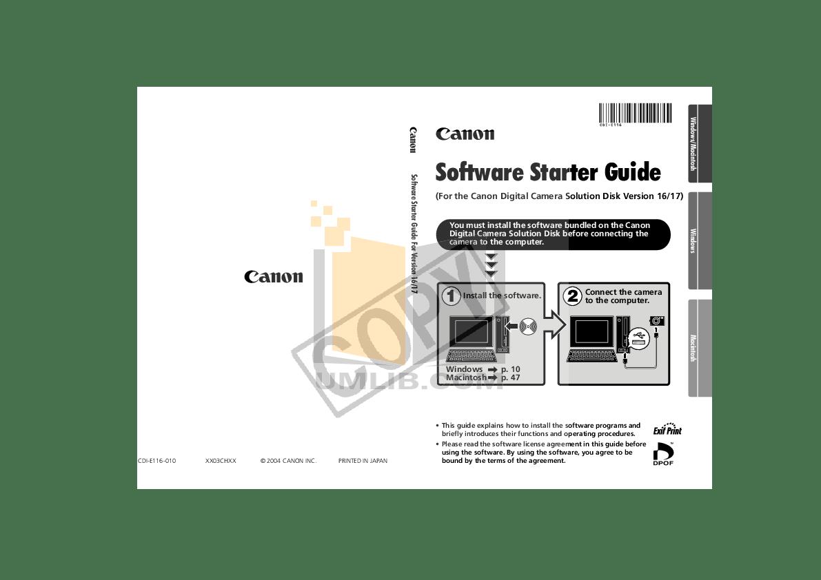 PDF manual for Canon Digital Camera Powershot A310