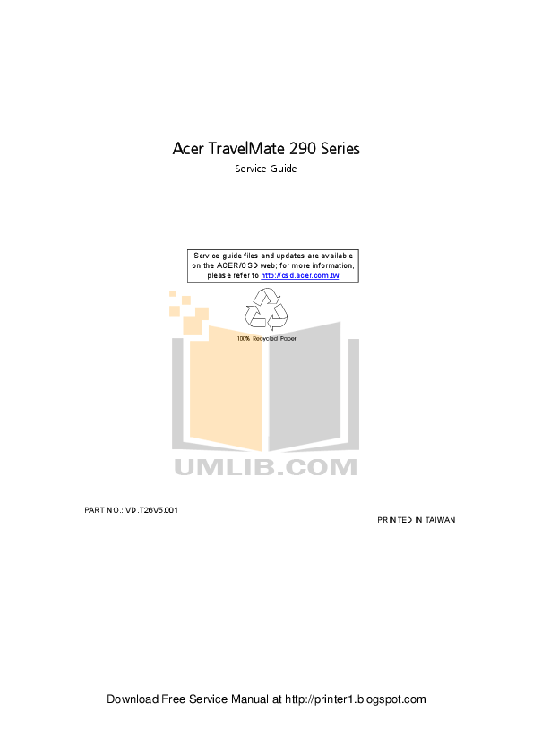 Download free pdf for Acer TravelMate 290E Laptop manual