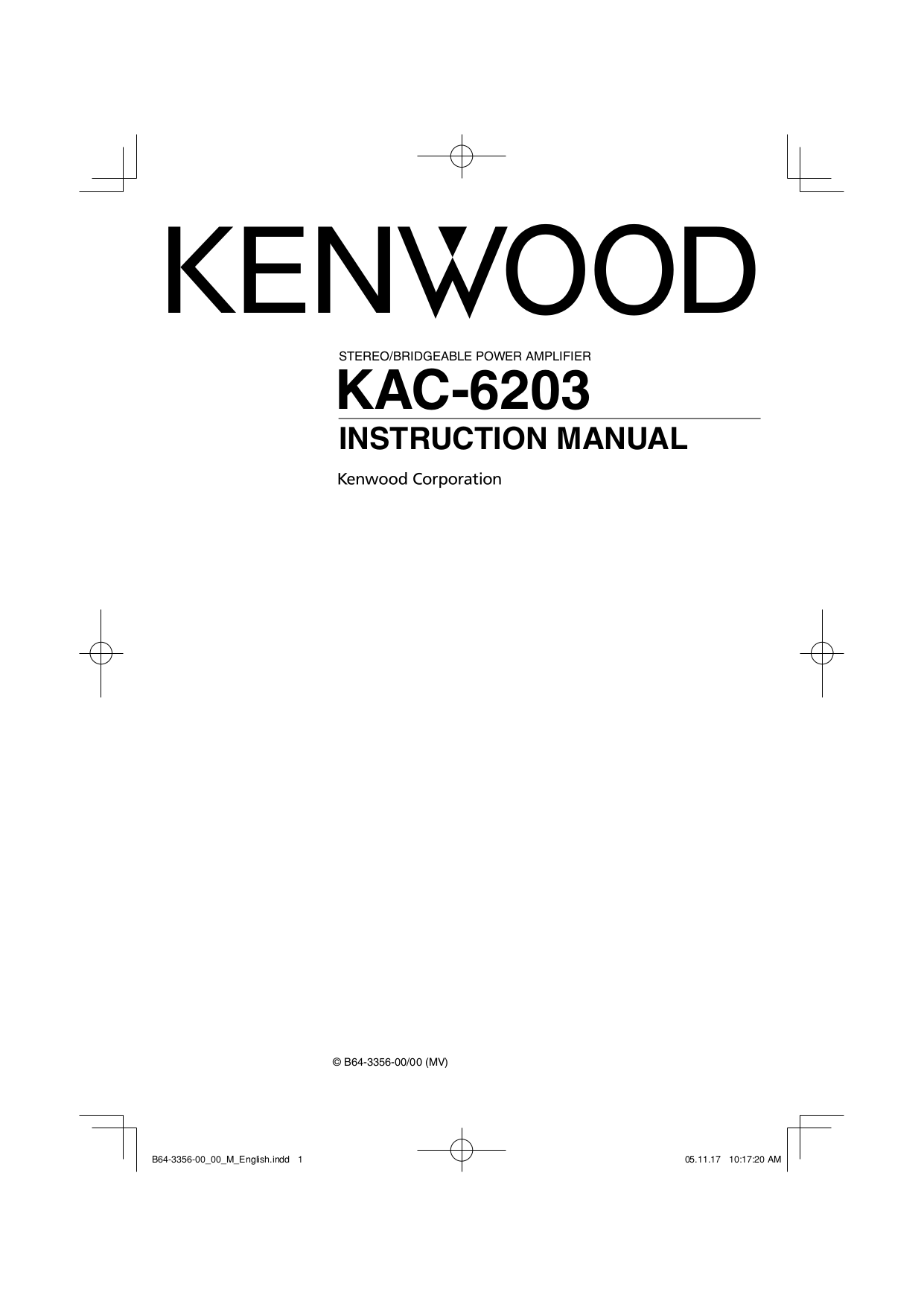 PDF manual for Kenwood Amp KAC-820