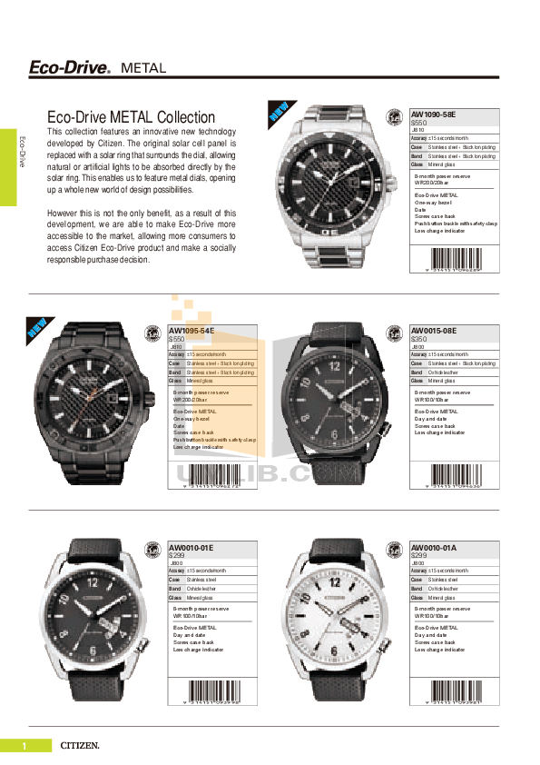 PDF manual for Citizen Watch Eco-Drive WR100 BM6542-56P