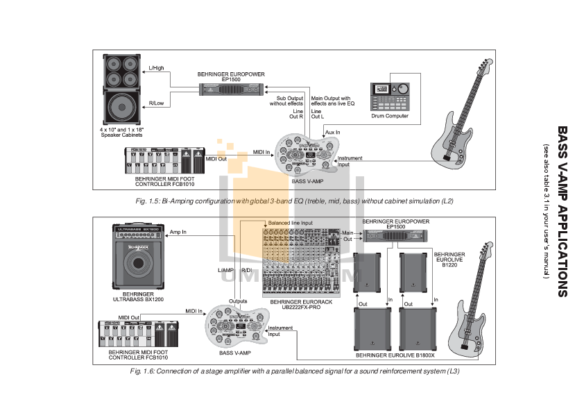 PDF manual for Behringer Amp V-AMP PRO
