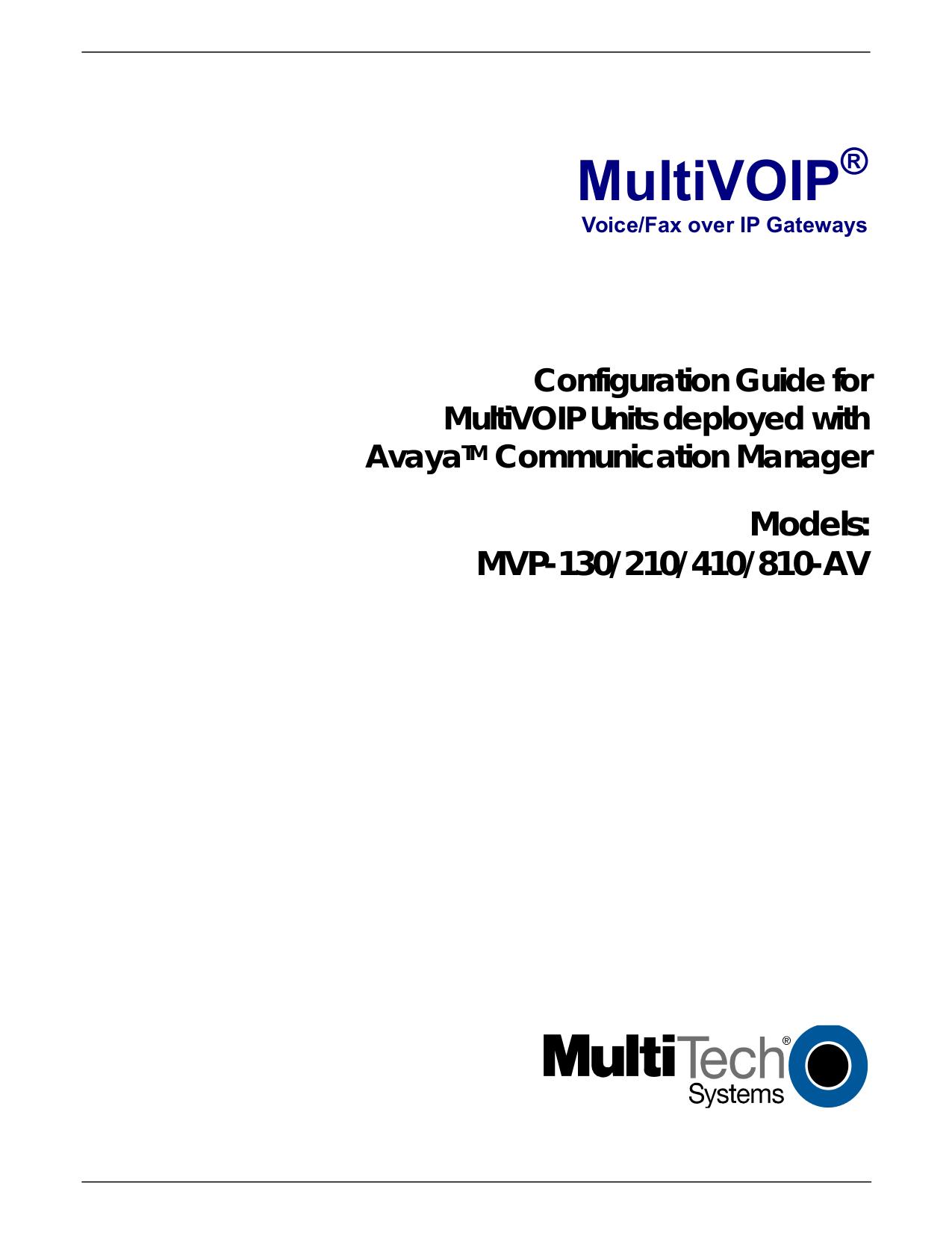 Download free pdf for Multi-Tech MultiVOIP AV MVP810-AV