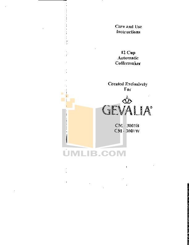 Download free pdf for Gevalia C-73 Coffee Maker manual