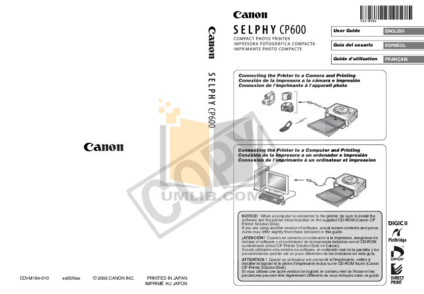 Download free pdf for Canon SELPHY CP600 Printer manual