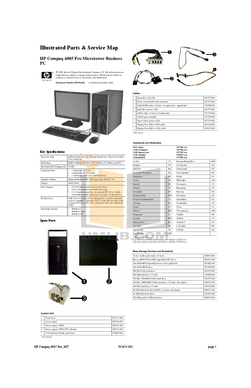 Download free pdf for HP Compaq 6005 Pro Desktop manual