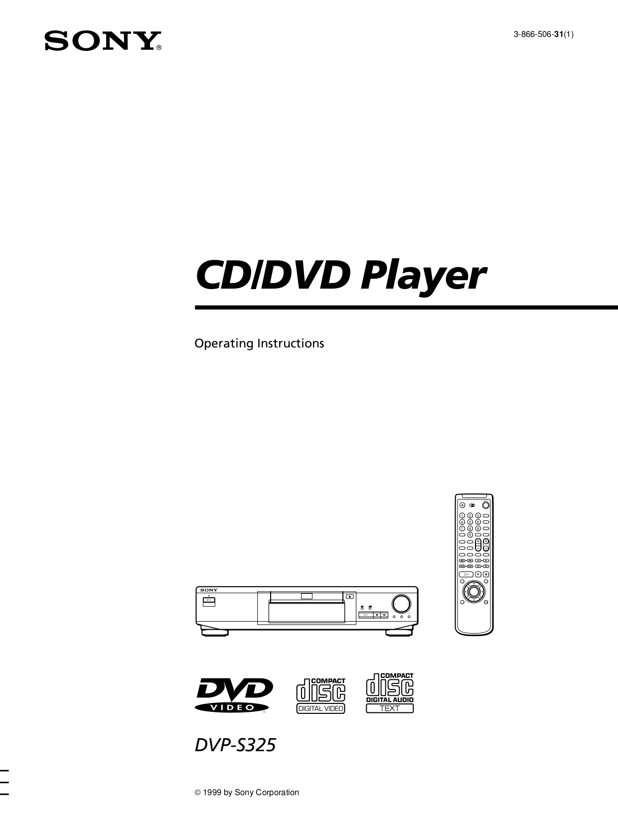 Download free pdf for Sony DVP-S325 DVD Players manual
